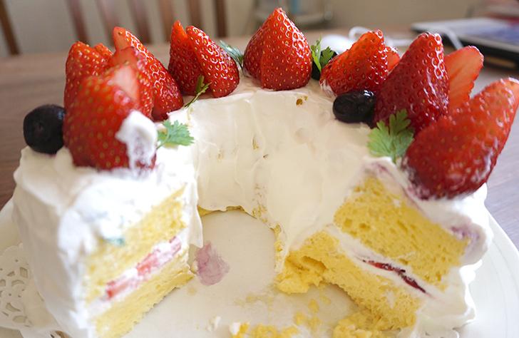 オーブンいらず時短&簡単『バースデーシフォンケーキ』の断面