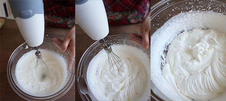 生クリームにグラニュー糖を入れて泡立てます。 シフォンケーキの作り方