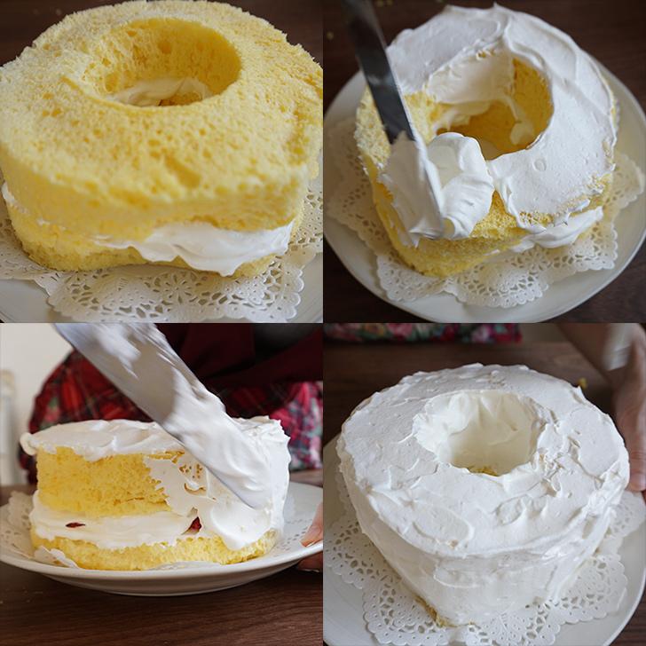 ケーキ全体に生クリームを塗っていきます。 シフォンケーキの作り方