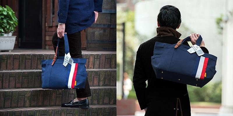 ダブルループの人気頒布トートバッグ「JOURNEY resort」男性が持ってるイメージ