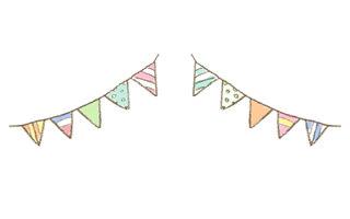 フラッグガーランドのイラスト 無料で使える誕生日のフリー素材