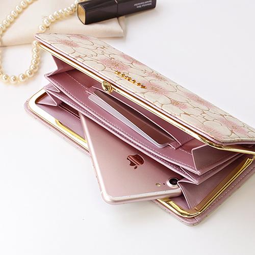 エーテル がま口二つ折り財布「サクラ・オデット」