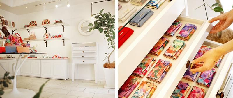 エーテル ラムエナメルレザー・キーケース「フルール・プティ」店舗イメージ