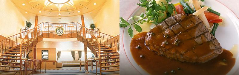 ルミナス神戸2 船内の階段 料理