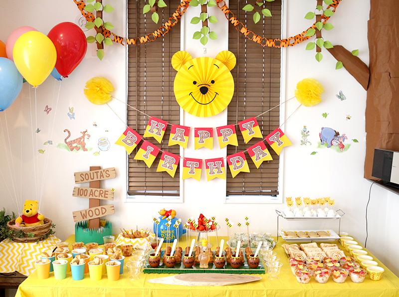 くまのプーさんがテーマの誕生日パーティー料理