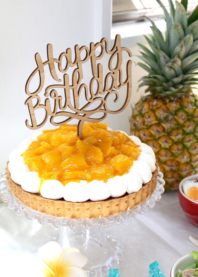 バースデーケーキ マンゴータルト アロハ・ハワイをテーマにしたトロピカルな誕生日パーティー演出
