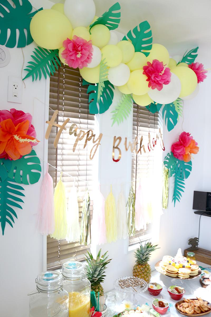 飾り付け アロハ・ハワイをテーマにしたトロピカルな誕生日パーティー演出