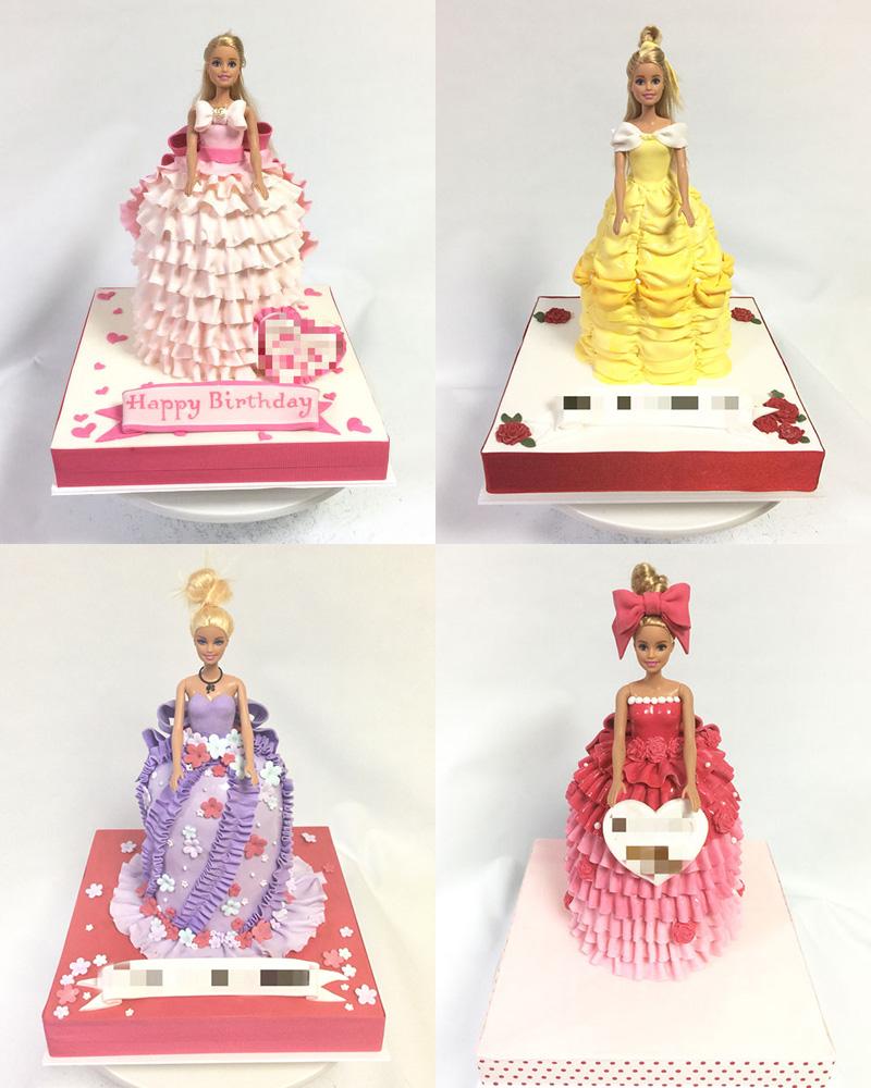 バービー人形を使ったドールケーキ
