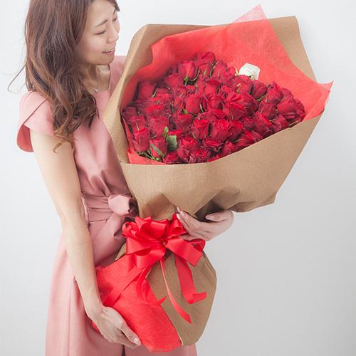 生花バラ100本の花束 メッセージローズ