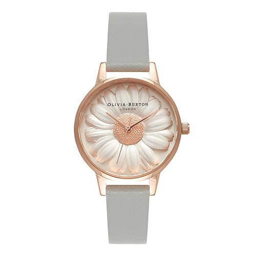 オリビアバートン レディース腕時計 フラワーショー - モールデッド デイジー グレイ & ローズゴールド
