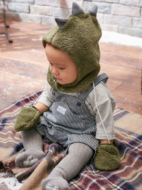 【moc mof】アニマル帽子&ミトンセット