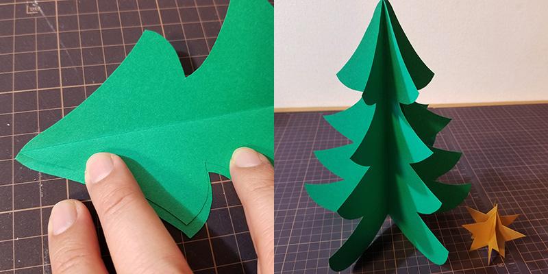 画用紙で作る!簡単ペーパークリスマスツリーの作り方 接着する