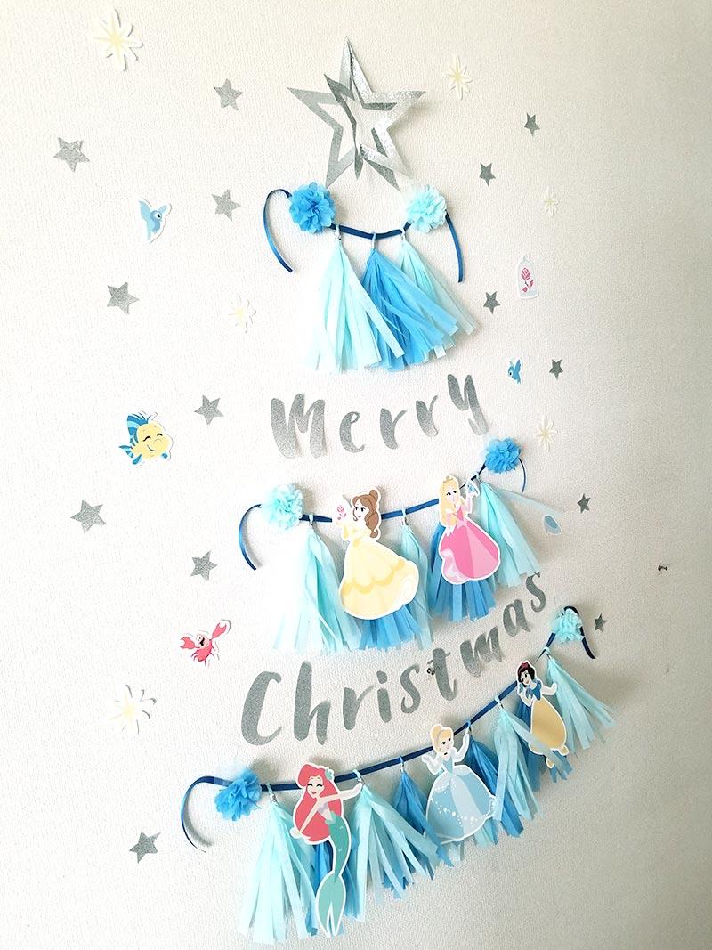 タッセルガーランドのクリスマスツリー ディズニープリンセスのクリスマスツリー