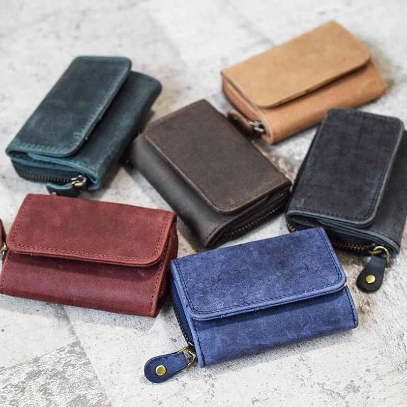 ミニレザーウォレット 本革ミニ財布 三つ折りコンパクト【名入れ可】