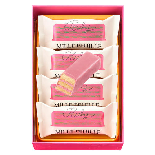 JUCHHEIM DIE MEISTER(ユーハイム・ディー・マイスター) ルビーミルフィーユ(4個入)×3箱セット  ルビーチョコレート バレンタイン 話題のチョコ