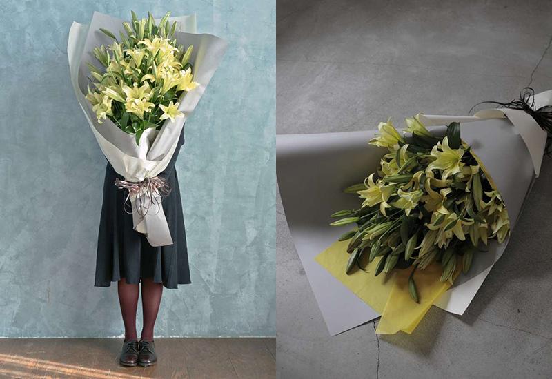 ユリ 花束 イエロー L おしゃれな花束 退職祝いの花束