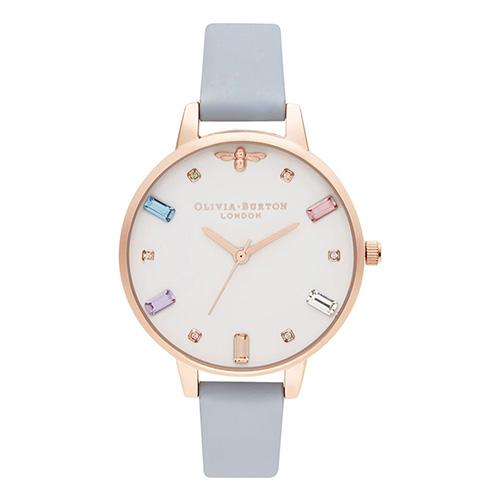 オリビアバートン腕時計 レインボー ビー デミ チョークブルー & ローズゴールド