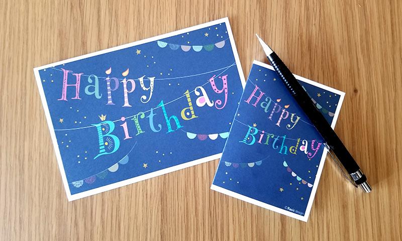 Typography Design-02 タイポグラフィなデザインのバースデーカード-2 HAPPY BIRTHDAYのガーランド