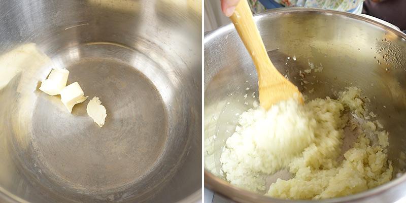父の日カレー レシピ 作り方 圧力鍋にバター(30g)を溶かし、野菜が色づくまで炒めます。