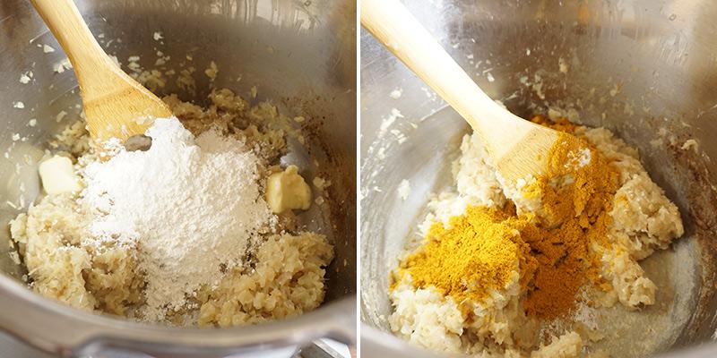 父の日カレー レシピ 作り方 バター(30g)と小麦粉を加えて炒めてから、カレー粉を加えて、さっと混ぜ合わせます。