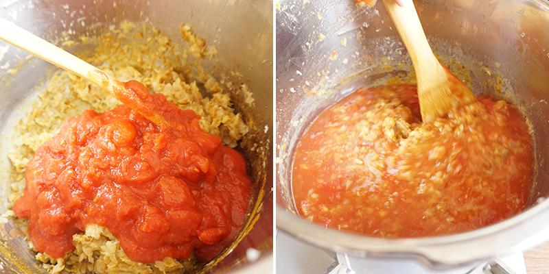 父の日カレー レシピ 作り方 トマト缶と水(600ml)、固形スープの素を入れて、しっかりと混ぜ合わせ、フタをして火にかけます。