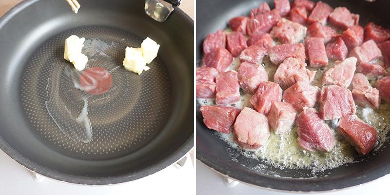 父の日カレー レシピ 作り方 別のフライパンにバター(20g)を溶かし、牛肉を強火で炒めておきます。