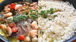 ドドーンと豪華な魚介料理!アクアパッツァとリゾットのレシピ・作り方