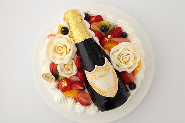 金箔つき!立体シャンパンケーキ おもしろケーキ