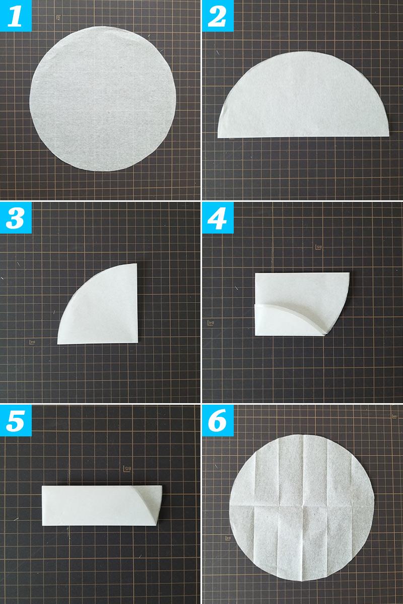 一枚つ折り目をつける ハニカムボールの作り方