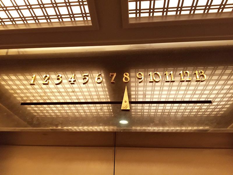 ホテルモントレ銀座 館内 レトロなエレベーター