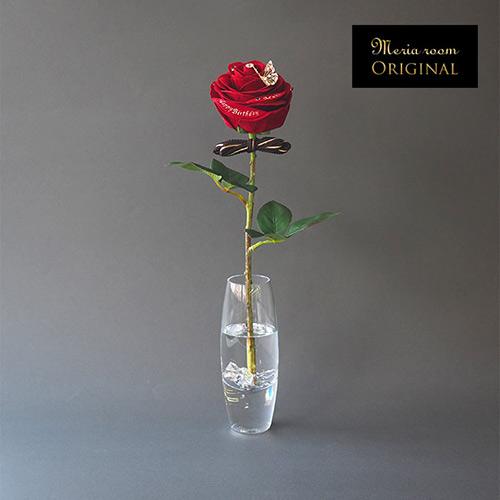 メッセージフラワー 人気No.1赤バラ(クリア花瓶付き)