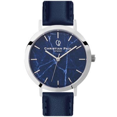 クリスチャンポール 腕時計 日本限定ネイビーマーブルM007NVSSV 43mm メンズ