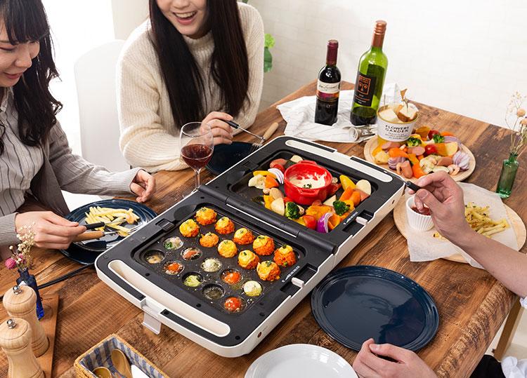 一度にふたつの料理が美味しく作れる!「アイリスオーヤマ 両面ホットプレート」