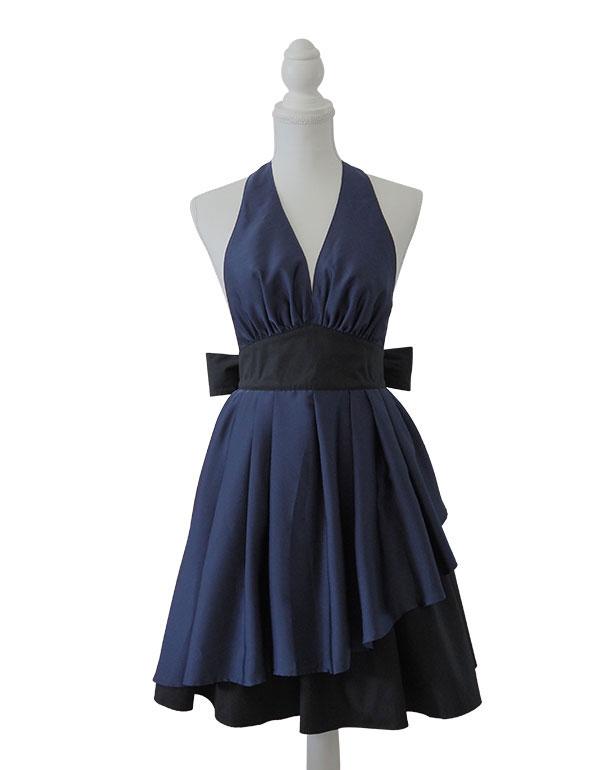 ドレスのように華やかなエプロ「エレグランス ミューズエプロン ネイビー」