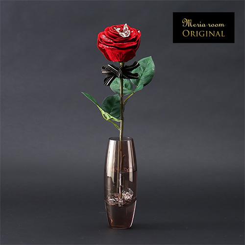 メッセージフラワー人気No.1赤バラ(モカ花瓶×ブラウンリボン)
