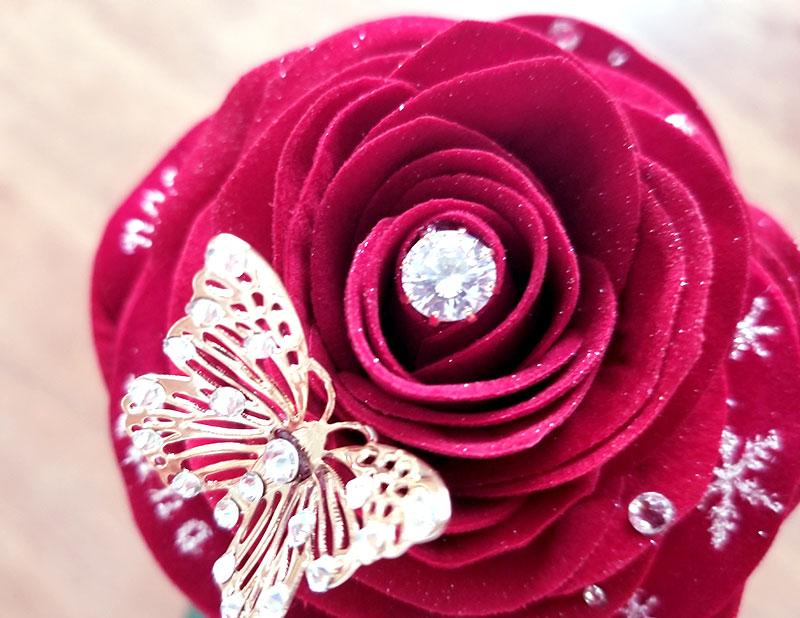 赤バラ1輪メッセージローズ 宝石