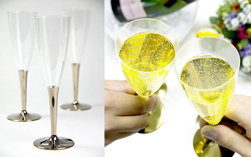 オシャレでスマートなプラスチックグラス「mozaik シャンパングラス ゴールド」