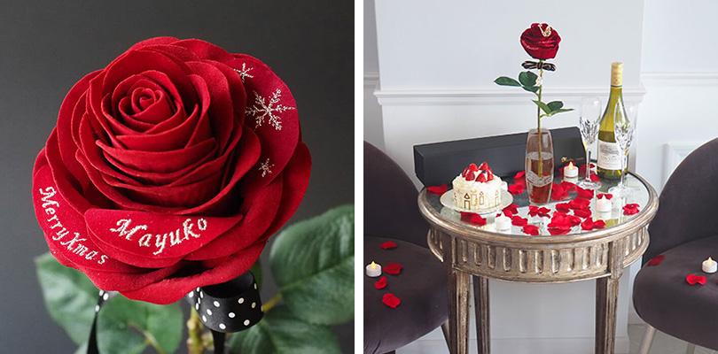 赤バラ1輪メッセージローズを彼女にプレゼントするシーン-3