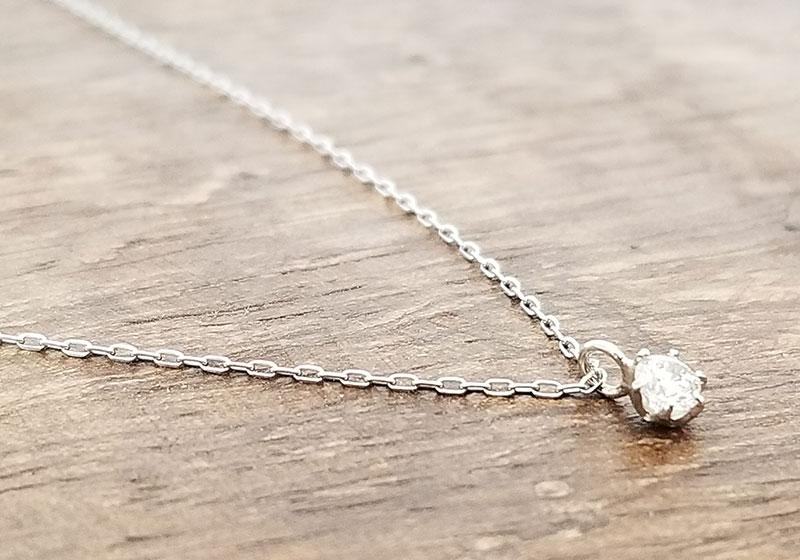 アクセサリーブランド「F」K10ダイヤモンドネックレス 拡大イメージ 横から