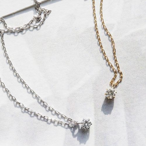 アクセサリーブランド「F」K10ダイヤモンドネックレス