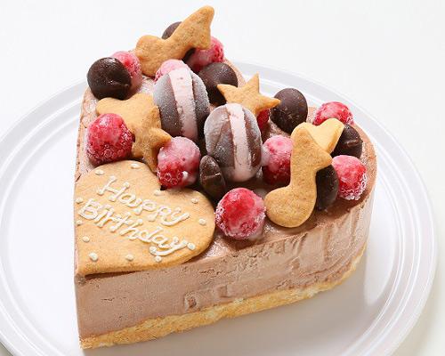 ハート型 チョコレートアイスクリームのデコレーションケーキ