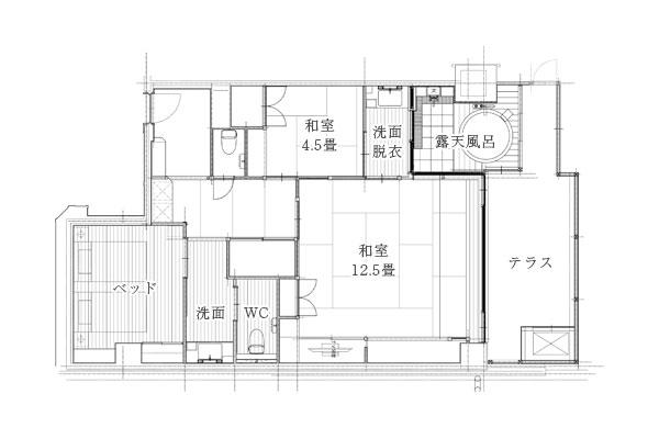 箱根湯本「ホテルおかだ」露天風呂付き客室「紅藤」の間取り図