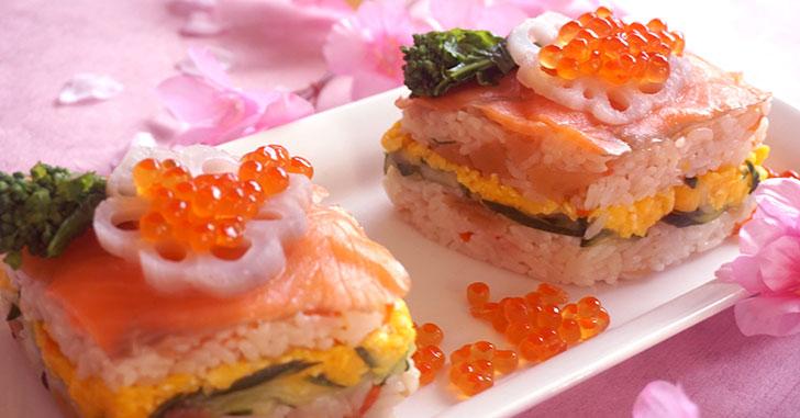 華やか菱餅風 押し寿司のレシピ・作り方