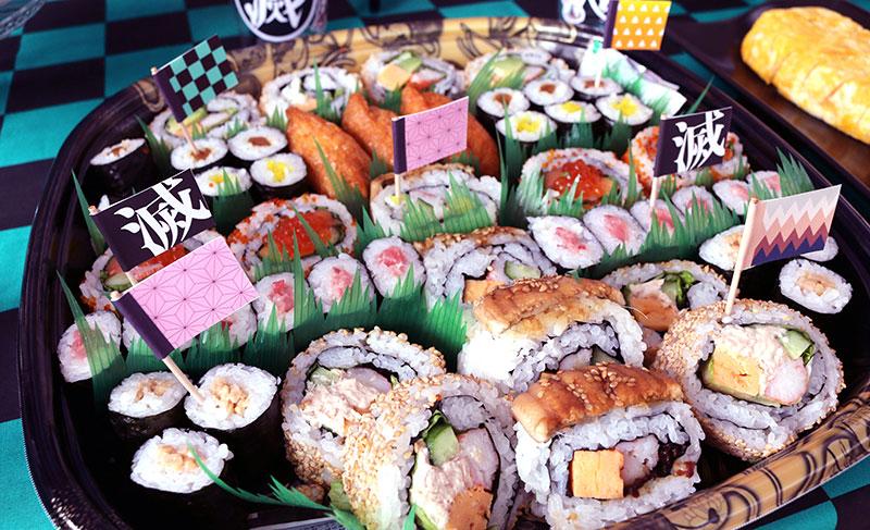 鬼滅の刃がテーマの誕生日パーティー演出 料理 寿司