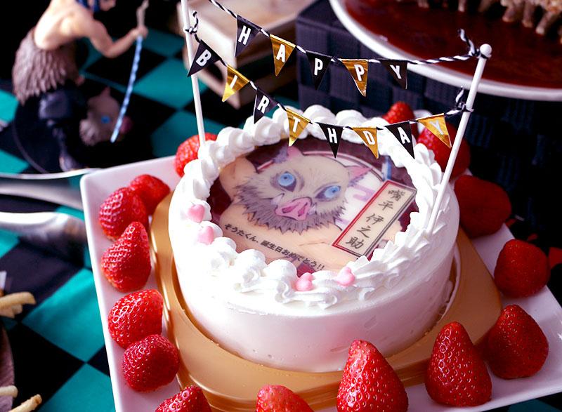 鬼滅の刃がテーマの誕生日パーティー演出 料理 バースデーケーキ 伊之助