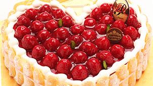 特注ハート型シュス木苺レアチーズケーキ