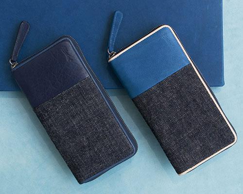 Bluestone(ブルーストーン)Sデニム x スクモレザー ラウンドジップ長財布