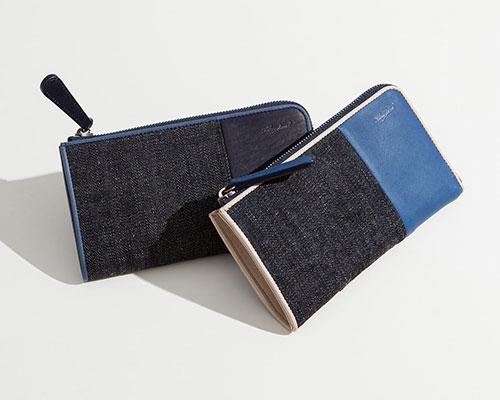 Bluestone(ブルーストーン)Sデニム x スクモレザー L字ジップ長財布