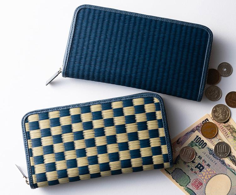 畳の財布 雛(Hiina)シリーズ 本い草ラウンド財布 メンズ財布 プレゼント