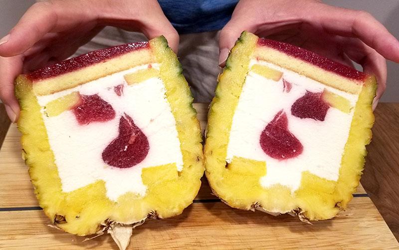 まるごとパイナップルケーキ 断面 カットの仕方